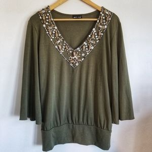 Wet Seal stone crystal bead embellished top